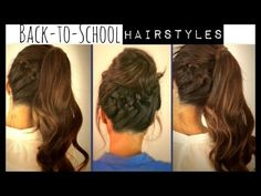 ★CUTE BACK-TO-SCHOOL HAIRSTYLES   BRAIDED PONYTAIL & MESSY BUN UPDOS  FOR MEDIUM LONG HAIR TUTORIAL