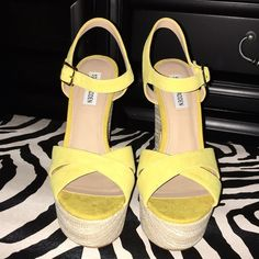 Yellow Suede Platform Sandals Beautiful color! Spring/Summer must have!!! Yellow suede platform sandal by Steve Madden Steve Madden Shoes Heels
