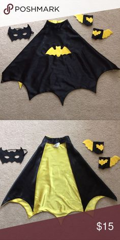 Children's Cape Bundle Children's bundle includes:  cape, mask, and set of wrist bands.  Ages 3-4.  100% polyester.  Worn maybe once.  Velcro's at neck. Costumes Superhero