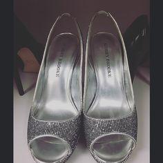 Audrey Brook Silver Slingback Platform Heels Worn once. Size 7 Audrey Brooke slingback platform heels. Non-flake silver glitter detail with black detail. Audrey Brooke Shoes Heels