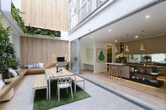 Max & Karstan Apartment 6 Reveal 2 Courtyard The Block Shop - Channel 9 Indoor Courtyard, Courtyard House, Outdoor Rooms, Outdoor Living, Indoor Outdoor Kitchen, Outdoor Seating, Design Cour, The Block Glasshouse, Courtyard Design