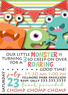 Monster Birthday Invitation by BumblebeeBeginnings on Etsy
