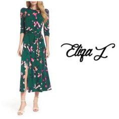 Eliza J Dresses, Green Fashion, Mid Length, Wrap Dress, Size 12, Floral Prints, Color, Women, Style