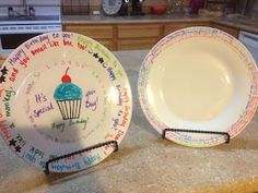 Playing With Pinterest: Sharpie Decorated Special Occasion Plates, write on them, bake to set!