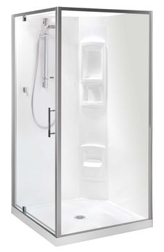 Clearlite Millennium Square Shower Square shower, white or frost satin frame available, different sizing options, includes tray and liner. http://www.plumbin.co.nz/shop/showers/Clearlite+Millennium+Square+Shower.html