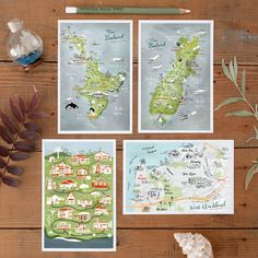 4 Postcard Set illustrated Maps of New Zealand by Theresa Grieben