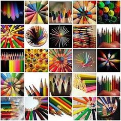 mosaic of colored pencils, I can smell their distinct woodsy smell. World Of Color, Color Of Life, Image Crayon, Halloween Painting, Coloured Pencils, Color Pencil Art, Creative Photography, Collage Art, Collages