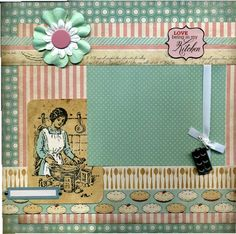 12x12 Premade Scrapbook Page - I Love Being In The Kitchen | SusansScrapbookShack - Paper/Books on ArtFire