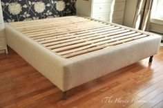 34 Lovely Diy Wooden Platform Bed Design Ideas, Whether your bed is put on the left or right side, or right in the middle of your bedroom, you want to correct the remainder of the furniture accordin. Box Spring Bed Frame, Platform Bed Designs, Furniture Upholstery, Bedroom Diy, Upholstered Bed Frame, Upholstered Bedframe Diy, Upholstered Beds, Upholstered Box Springs, King Bed Frame