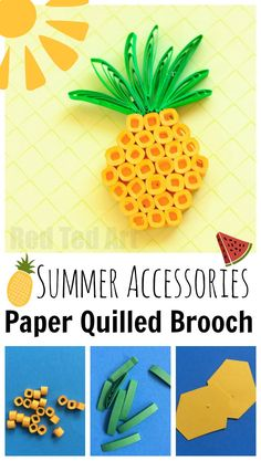 Must see Summer Project for Jewelry lovers. Make this easy Paper Quilling Pineapple Brooch. So fun and simple and looks great with our watermelon pendant!