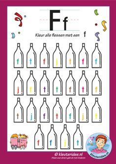 Pakket over de letter f blad 6, kleur alle flessen met een f, letters aanbieden aan kleuters, kleuteridee, free printable.