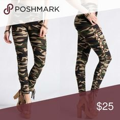 Camouflage Lace-Uo Leggings Camo leggings that lace up the sides and tie at the bottom. 92% Polyester, 8% Spandex. Sizes S/M and L/XL. SM/Med fits sizes 0-4 and L/XL fits sizes 6-10 comfortably. Pants Leggings
