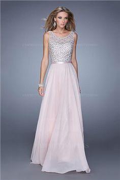 A-Line/Princess Jewel Floor-length Chiffon Prom Dress