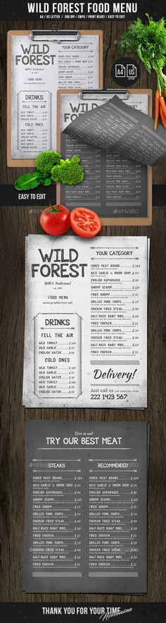 Wild Forest Single Page A4 & US Letter Menu