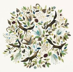 Anna Walker. Love the delicate watercolor, sense of pattern, and whimsy.
