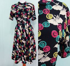 1940s cold crisp rayon! Print is ink black fabric and features lollipop circles and ballet dancers! Love how the chartreuse, magenta and teal pop