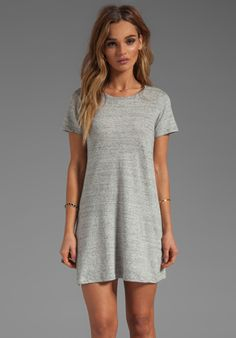 THEORY Teju Dress in Heather Grey - T-Shirt Dress #ootd inspired by amy pham fall transitions video on youtube #tshirtdress + #leatherjacket
