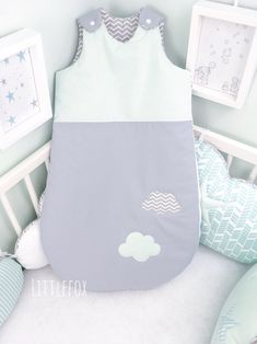 Baby sleeping bag in mint and grey color by LittleFoxForBaby, EUR Cot Bumper, Sleeping Bag, Nursery Room, Kids Decor, Grey And White, Gray Color, Cotton Fabric, Etsy, Handmade