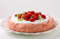 Raspberry Pavlova - The meringue in this pavlova is a cinch to make, thanks to raspberry-flavored JELL-O.