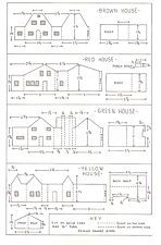 Pack-o-Fun Putz House Plans - from Big Indoor Trains™ and CardboardChristmas. Box Houses, Putz Houses, Paper Houses, Tiny Houses, Cardboard Houses, Christmas Village Houses, Christmas Villages, Christmas Home, Christmas Glitter