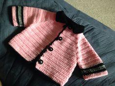 Crochet pink baby fireman jacket