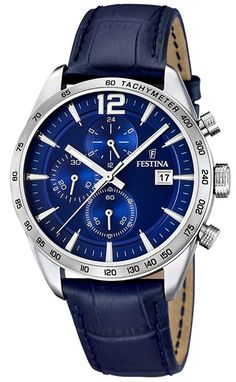 Festina Mens Chronograph Blue Leather F16760/3
