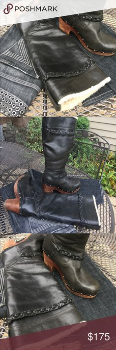 Black OR Brown tall boots sheep leather UGG clogs Black OR Brown stud tall braided boots 🐑 sheep lined leather uppers UGG Australia clogs sz 9. RUN TRUE To SIZE unlike the comfy flat ones. I need a 10 & wear a 9 in those.  (even an 8 in some) Tag me if you 👀 a 10🙏I know these retailed over $450 new. I bought them preowned and are in great used condition. Interior still fluffy not matted down & insoles are cushy.  Thanks for looking & check back for hundreds more of listings that didn't…