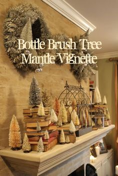 """Miss Kopy Kat: Bottle Brush Tree Mantle. Love the use of old books in this display. This is def. """"my style"""" of christmas decorating! Christmas Mantels, Rustic Christmas, Winter Christmas, Vintage Christmas, Christmas Holidays, Christmas Crafts, Christmas Ideas, Holiday Ideas, Christmas Fireplace"""