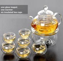 glass teapot grace tea ware with 1 heater with 6 tea cups set