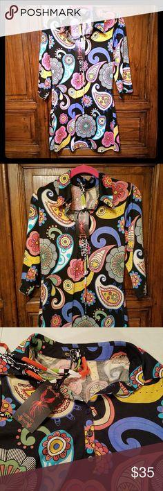 "NWT Sz L Reborn Retro Mod Paisley Floral Dress REBORN Retro VTG Pointed Collar Stretch Dress sz L 3/4 Sleeve Boutique Floral  NWT with belt, V-neck button placket  Size L  armpit to armpit 16""  waist 15""  length 33""  See all pics for details Reborn Dresses"