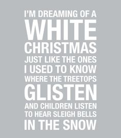 I'm Dreaming of a White Christmas....Typography Sign