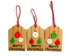 Set of 3 Christmas Tags. Merry Christmas In Black Vinyl, Red Green White Buttons, Red String, Gift Tags, Tags for Presents, Button Ornament