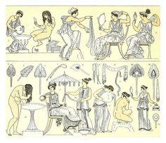 La toilette s en la Grecia clasica - En: La Histoira del Vestido. Charles Auguste Albert Racinet (1825-1893)
