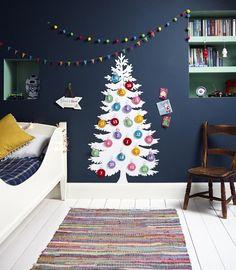 Adventskalender basteln kinderzimmer-wanddeko-filz-weihnachtsbaumkugeln