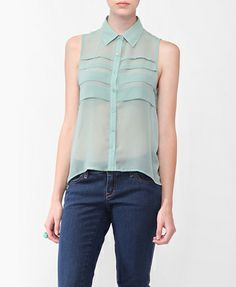 Pintucked High-Low Shirt with pastel sky blue sheer fabric.( pintuck is a narrow ornament tuck in the fabric)