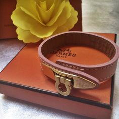 Italian Leather Horseshoe Bracelet Genuine Italian Leather Pink Bracelet with Horseshoe Buckle. (This is not Hermes brand, box for decor only). Italian Leather Jewelry Bracelets