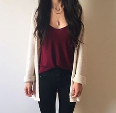 Burgundy outfit - Flawless Women's Cardigan Spring Summer Outfits – Burgundy outfit Trendy Outfits, Cute Outfits, Fashion Outfits, Womens Fashion, Outfits With Boots, Fashion 2016, Fashion Tips, Fashion Trends, Mode Style