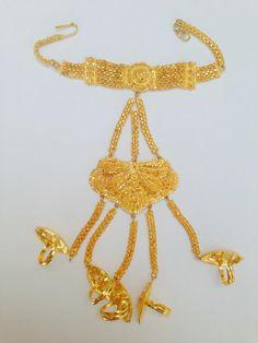 Indian Bollywood Gold Colour  Belly Dancing Panja Punja Bracelet 5 Rings P015