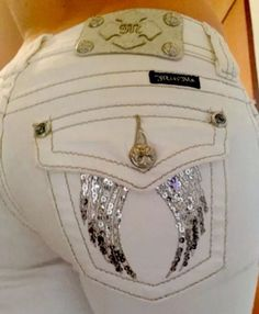 Women's Buckle Miss Me WHITE Cropped Capri denim Jeans BLING ANGEL WINGS RARE 24 #MissMe #CapriCropped