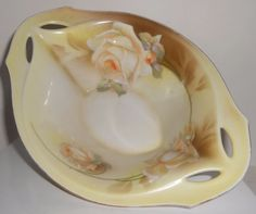 R.S. Germany (Blue Mark) Oval Footed Sauce Bowl White Roses Circa 1910-1920  #RS