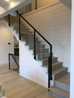 Interior Railings Vancouver - Aluminum Guardrail & Handrails (Commercial / Residential) - Metro Vancouver Railings Interior Railings, Interior And Exterior, Hallway Decorating, Interior Decorating, Interior Design, Glass Stair Balustrade, Commercial Stairs, Stair Railing Design, Glass Stairs