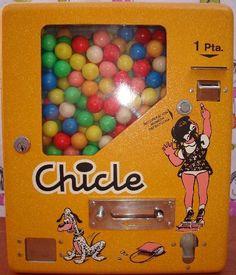 Juegos, juguetes y artículos antiguos- Maquina de chicles 1 peseta