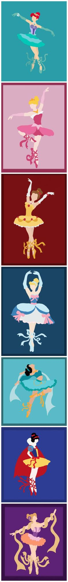 Disney princesses as ballerinas! If I have a little girl one day, these will go in frames in her bedroom!!