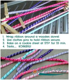 How to make #korkers.... Very easy and a fun way to use ribbon for all kinds of things, especially #HairBows... Come visit my fb page at #EllaBellaBows for some unique hair clips.