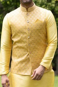 Yellow Kurta Jacket Set with Light Work - Indian Wedding Clothes For Men, Sherwani For Men Wedding, Indian Wedding Outfits, Wedding Jackets Mens, Kurta Pajama Men, Kurta Men, Marriage Dress For Men, Indian Groom Dress, Indian Wear