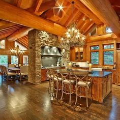 View our picture gallery of the most beautiful log homes and log cabins. View photos of log home interiors, exteriors, kitchens, and architecture. home rustic, Log Homes Photo Galley - Log Cabin Bureau Log Cabin Living, Log Cabin Homes, Log Cabin Exterior, Beautiful Houses Interior, Beautiful Homes, Home Design, Log Cabin Kitchens, Log House Kitchen, Rustic Home Interiors