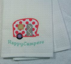 Happy Campers Applique Cotton Kitchen Towel Ready by OwlTakeThat