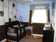 Stripes and Polka Dots Nursery: I had so much fun creating this stripes and polka dots nursery for our baby boy, who is due in March. This is our first baby, so I was very excited to
