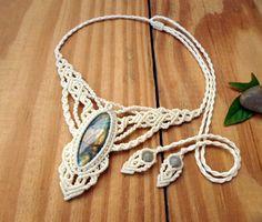 Labradorite macrame necklace labradorite jewelry by SelinofosArt