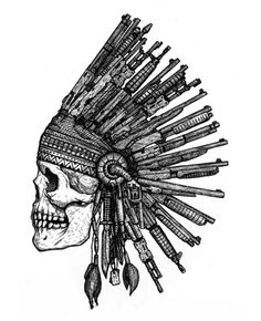 Skull wearing Indian headdress from various guns. Skull wearing Indian headdress from various guns Indian Headdress Tattoo, Indian Skull Tattoos, Sugar Skull Tattoos, Chicano, Angel Wings Drawing, Crane, Simple Skull, Emo Art, Tattoo Project